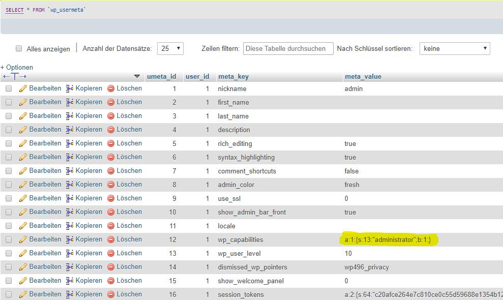 WordPress Benutzerrolle in Datenbank ändern
